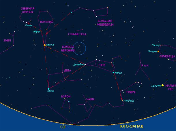 Звезда Арктур на небе северного полушария